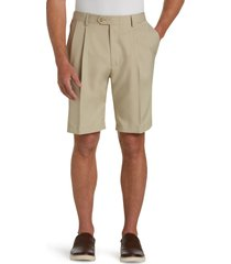 jos. a. bank men's traveler performance pleat front traditional fit comfort waist shorts clearance, tan, 34 regular