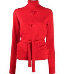 msgm turtleneck tie-waist jumper - red