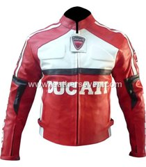men mens ducati red leather motorcycle motorbike biker armour jacket