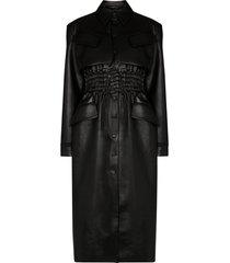 materiel shirred faux leather coat - black
