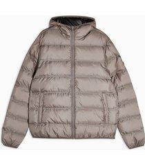 mens beige stone hooded puffer liner jacket