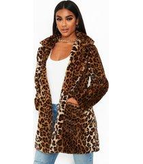leopard faux fur coat, brown