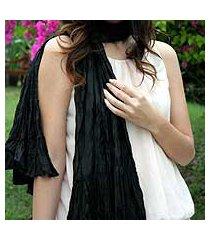 scarf, 'ebony ruffles' (thailand)