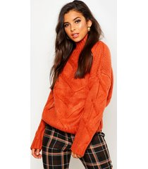 soft knit cable sweater, rust