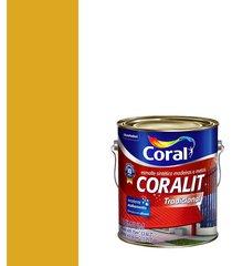 esmalte sintético brilhante coralit amarelo trator 3,6l - coral - coral