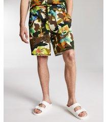 "sun + stone men's floral camo-print 8"" fleece shorts, created for macy's"