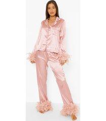premium bride pyjama met veren, blush