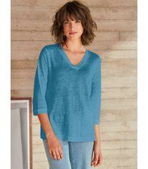 shirt 100% linnen v-hals van peter hahn pure edition turquoise
