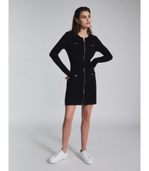 reiss emily - knitted mini dress with zip detail in black, womens, size xl