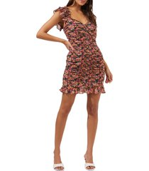 astr the label floral ruched dress, size x-small in fuchsia-orange ditsy at nordstrom