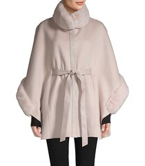rabbit fur-trim belted poncho coat