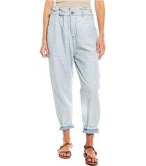 slouchy jeans en denim ecológico con elástico en cintura color blue