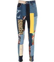 dolce & gabbana patchwork denim and jacquard jeans