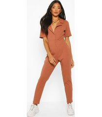 soft ribbed collar detail button through jumpsuit, toffee