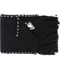 alexander mcqueen skull knit frayed edge scarf - black