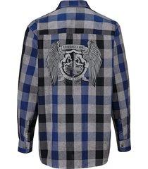 rutig skjorta men plus kungsblå::svart::vit