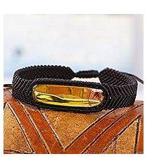 amber pendant bracelet, 'electrum in black' (mexico)