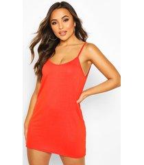 petite low back shift dress, orange