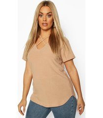 plus cross front strap ribbed t-shirt, stone