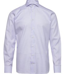 checked cotton-tencel shirt overhemd business blauw eton