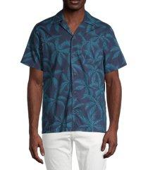 banks journal men's regular-fit palm-print camp-collar shirt - saffron - size s