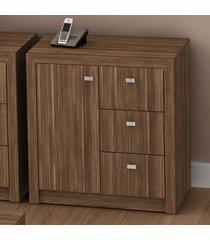 armário para escritório baixo 1 porta 3 gavetas me4111 nogal - tecno mobili