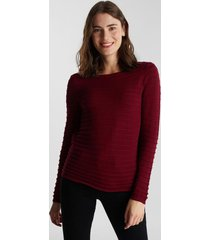 sweater con textura de rayas burdeo esprit
