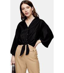 black poplin tie front shirt - black