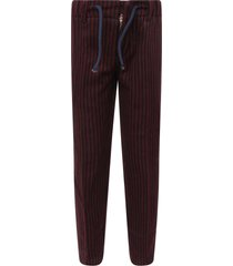 dondup blue and red striped pants with iconic d for boy