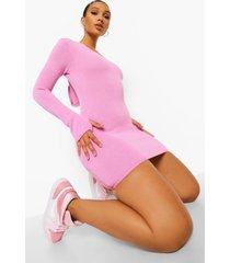 gebreide jurk met capuchon, bright pink