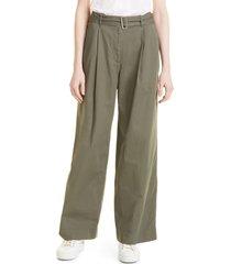 women's club monaco belted wide leg chino pants, size 12 - green