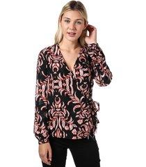 vero moda womens gyana long sleeve wrap top size 12 in red