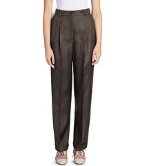 giorgio armani women's virgin wool-blend pleated trousers - mulch - size 48 (14)