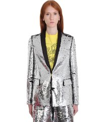 golden goose kylie blazer in silver tech/synthetic