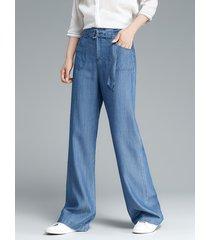 pantaloni casual denim a vita alta con tasche alte per le donne
