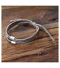 silver accent wristband bracelet, 'hill tribe friend in khaki' (thailand)