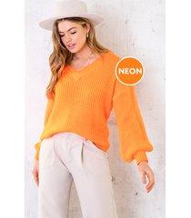 gebreide trui met v-hals neon oranje
