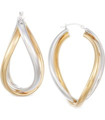 signature gold interlocking hoop earrings in two-tone 14k gold over resin