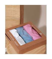 kit de 3 t-shirts femininas mindset básicas manga curta decote redondo multicor