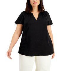 alfani plus size flutter-sleeve split-neck top, created for macy's