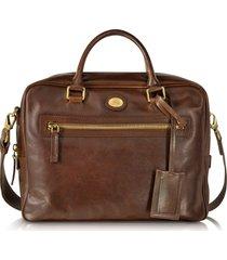 the bridge designer briefcases, story uomo dark brown leather briefcase