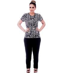 pijama ficalinda de blusa manga curta estampa animal print de zebra e viés preto e calça comprida preta. - kanui