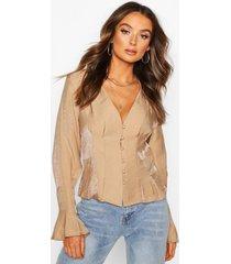 button down seam detail blouse, camel