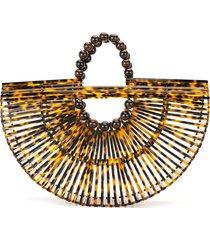 cult gaia tortoiseshell fan-style shoulder bag - brown