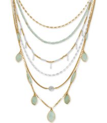 "lucky brand two-tone stone & imitation pearl beaded convertible statement necklace, 18"" + 2"" extender"