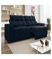 sofá 4 lugares net jaguar assento retrátil e reclinável petróleo 2,30m (l)