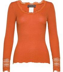 silk t-shirt regular ls w/wide lace t-shirts & tops long-sleeved orange rosemunde