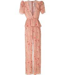 adriana degreas silk printed jumpsuit - pink