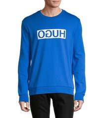 hugo hugo boss men's logo cotton sweatshirt - blue - size s