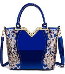 borsa a tracolla in pelle verniciata per donna di grande capacità con paillettes casual borsa